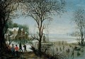 Winter Landscape With Sportsmen And Skaters Near A Village - Denys Van Alsloot