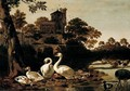 A River Landscape With Swans, Geese, Mallard, Tufted Duck And A Magpie, A Church On A Hill-Top Beyond - Dirck Wijntrack