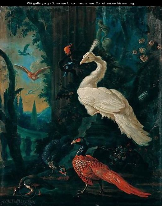 A Peacock, A Peahen, A Pheasant And Other Exotic Birds In An Ornamental Landscape - (after) Abraham Bisschop