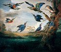 Kingfishers And Rollers In Flight In A River Landscape - (after) Jan Van Kessel I