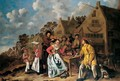 Peasants Feasting And Playing Music Outside A Tavern - Jan Miense Molenaer