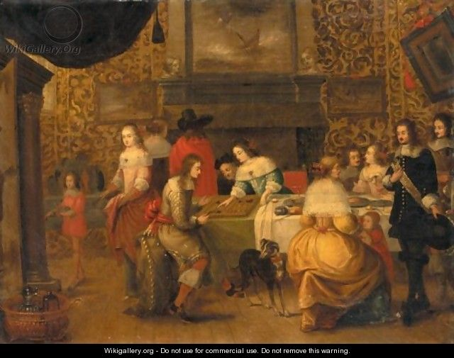 Interior With An Elegant Company Playing Backgammon - (after) Hieronymous Janssens