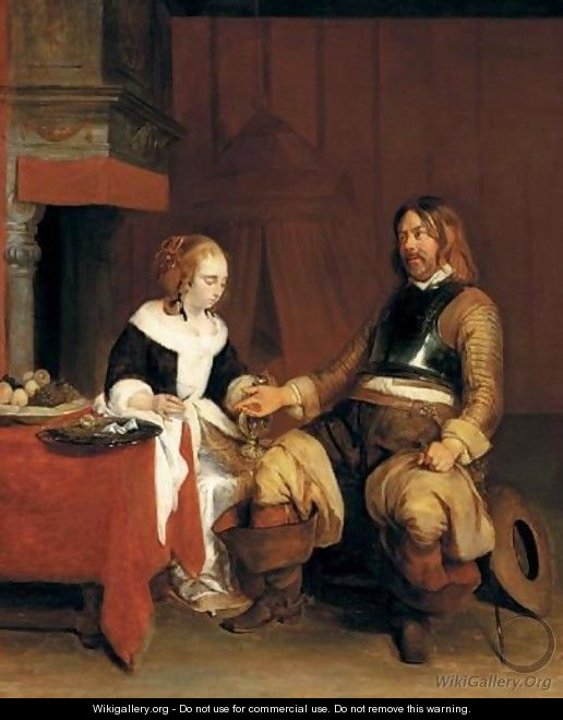 A Soldier Offering A Young Woman Coins - (after) Gerard Ter Borch