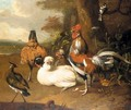 Still Life Of Chickens, A Cockerel, And Other Fowl In A Landscape - (after) Melchior De Hondecoeter
