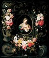 Swags Of Flowers Decorating A Stone Cartouche With The Virgin And Child - (after) Daniel Seghers