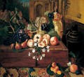 Still Life Of Peaches, Grapes, A Pear And A German Ivory Tankard Upon A Wooden Box, Together With Apples And Apricots Upon A Carpet - Pieter Snyers