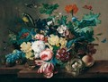 Still Life Of Roses, Tulips, Popies, Morning Glory And Hollyhocks In A Wicker Basket, With Grapes, Medlars, A Peach And A Bird's Nest, Arranged Upon A Stone Ledge, Together With A Green Finch And Butterflies - Franz Xaver Petter