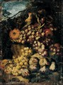 Still Life Of Red Grapes, A Melon And Apples In A Wicker Basket, With Figs And White Grapes, Together With A Song Bird, In A Landscape Setting - (after) Abraham Brueghel