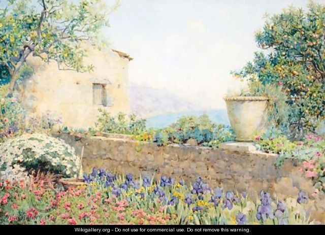 Terrace Of An Italian Coastal Garden - Ernest Arthur Rowe