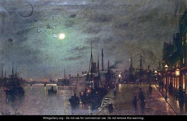 Harbour Scene At Night - Wilfred Jenkins