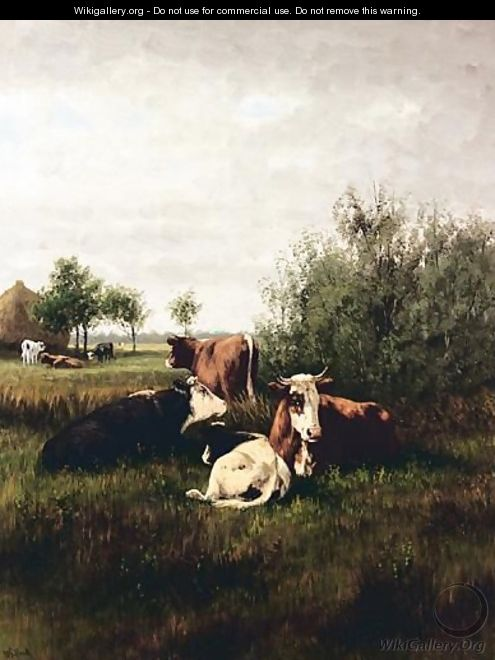 Cattle Resting In A Meadow - William Frederick Hulk