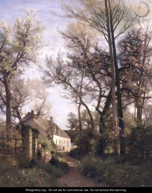 Along The Path To The Village - Eugene Antoine Samuel Lavieille