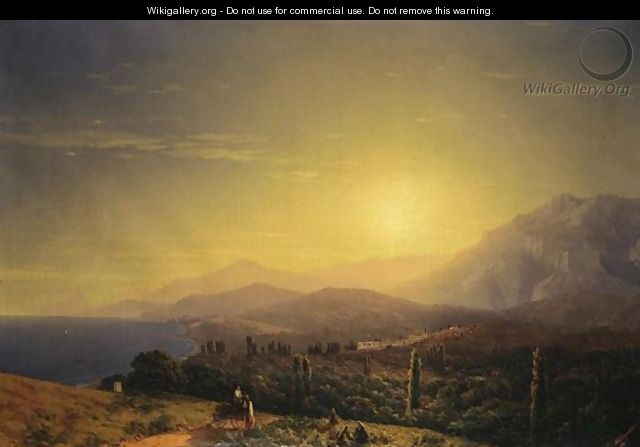 View From The Hills Above Theodosia - Ivan Konstantinovich Aivazovsky