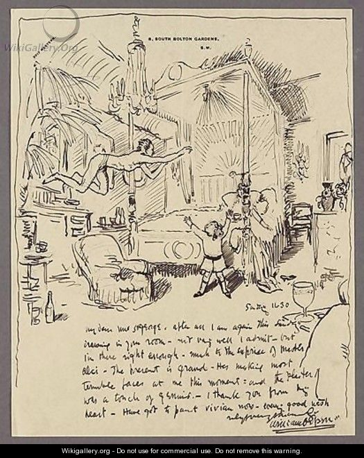 An Illustrated Letter To Mrs St George The Bedroom At Clonsilla - Sir William Newenham Montague Orpen