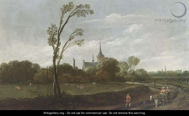 A Wooded Landscape With A Horse-Drawn Cart, A View Of A Village With A Church Tower Beyond - Esaias Van De Velde