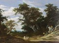 A Wooded Landscape With A Horseman With Another Horse On A Path Together With A Boy - Jacob Salomonsz. Ruysdael