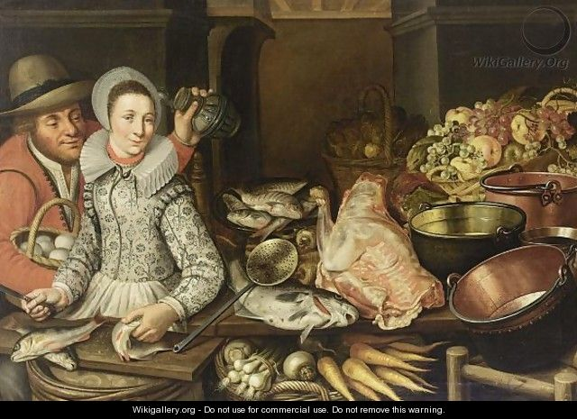 A Kitchen Still Life With Grapes And Apples In A Basket, With Artichokes In A Basket, Fish On A Plate, Copper Pots And Pans, A Piece Of Meat, Fish, Carrots, Turnips And Onions In A Basket, With A Woman Scaling Fish And A Man Holding A Jug And A Basket - (after) Floris Gerritsz. Van Schooten