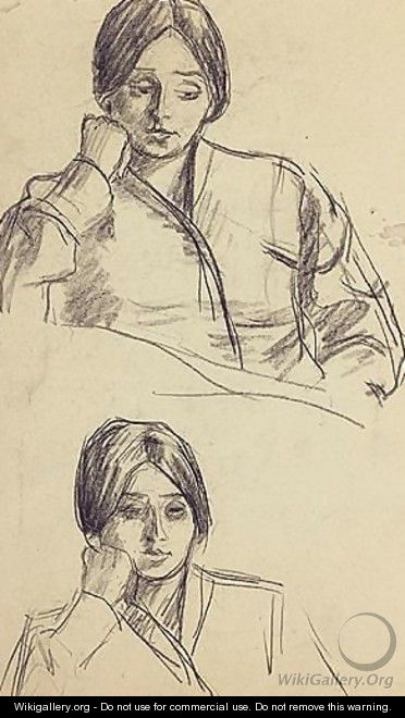 Two Studies Of A Woman In Thought - Roderic O
