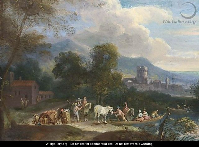 A River Landscape With Figures And Horses In A Ferry - Flemish School