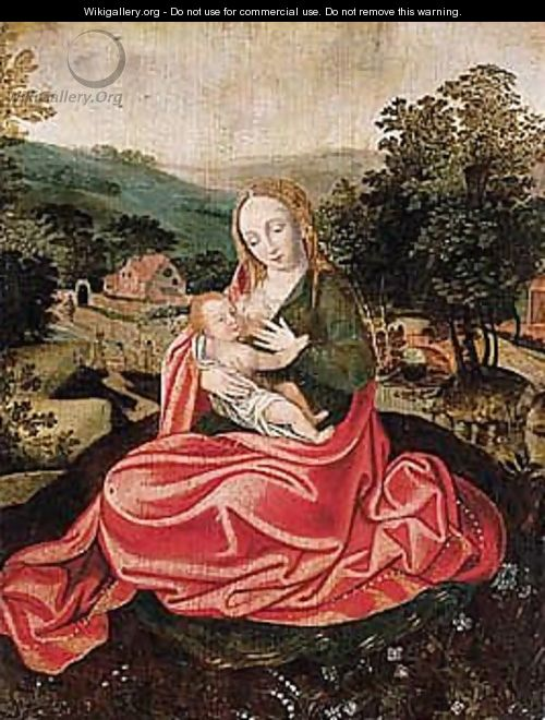 The Virgin And Child In A Landscape - Netherlandish School
