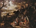 Landscape With A Hunting Party - Sebastien Vrancx