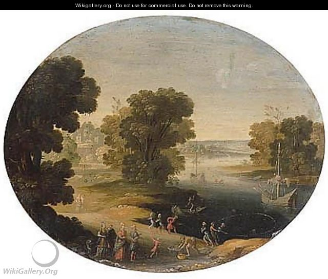 A River Landscape With A King And His Retinue, Possibly Polycrates Of Samos Finding The Ring - (after) Paul Bril