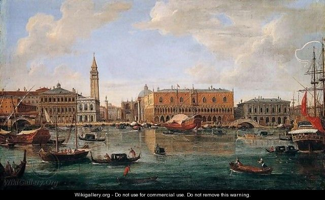 Venice, A View Of The Molo From The Bacino Di San Marco Looking North Towards The Piazzetta And The Palazzo Ducale - Caspar Andriaans Van Wittel