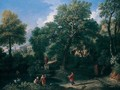 An Arcadian Landscape With Figures Bathing By A Pool, A Classical Temple Beyond - Jan Frans van Orizzonte (see Bloemen)