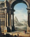 An Architectural Capriccio Of Classical Ruins With A Pyramid And Figures - Antonio Joli