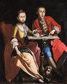 Portrait Of Count Juan Batista De Santana With His Sister Rosana, Both Full Length Seated, Playing Draughts - Neapolitan School