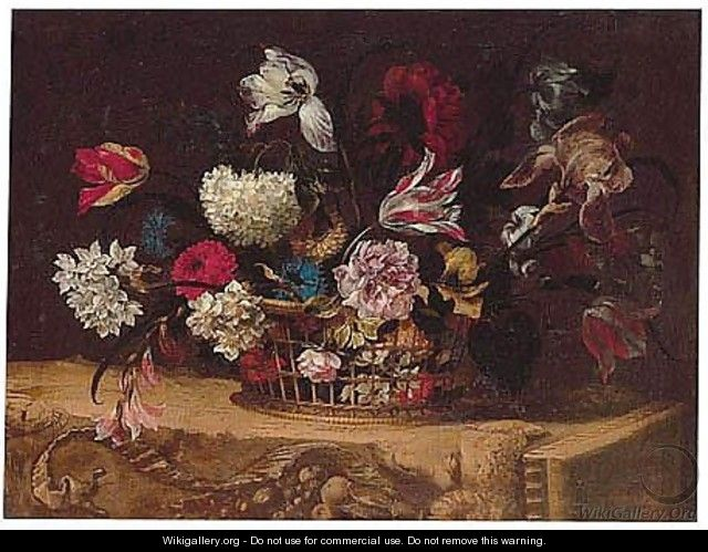 Still Life Of Summer Flowers In A Wicker Basket Upon A Stone Frieze - Nicolas Baudesson