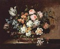 Still Life Of Tulips, Roses, Hyacinths And Other Flowers In A Wicker Basket Set On A Stone Table - (after) Jean-Baptiste Monnoyer