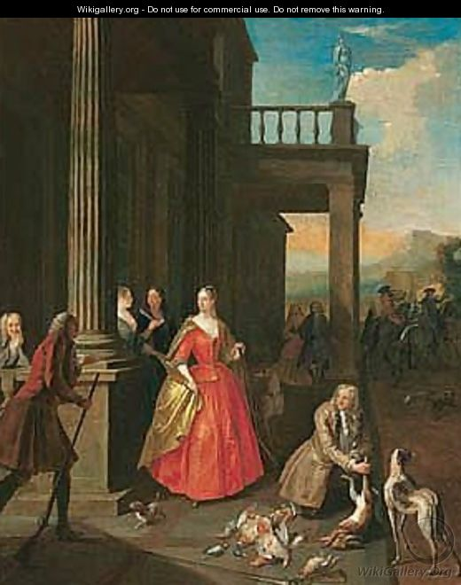 Elegant Figures Gathered Before A Portico After Returning From A Hunt - Joseph van Aken