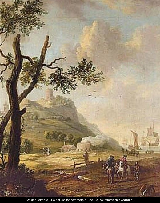 Coastal Landscape With Riders Conversing With A Traveller, Dutch Shipping Beyond - (after) Abraham Storck