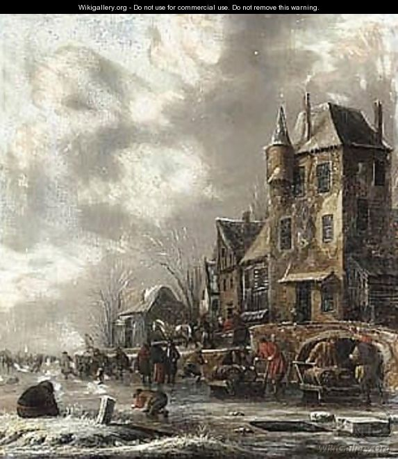 A Winter Scene With Figures Skating On A Frozen River Before Houses - Thomas Heeremans