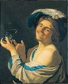 A Merry Toper Holding A Wine Glass - (after) Honthorst, Gerrit van