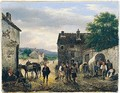 Village Scene With Figures And Donkeys Before A House - Guiseppe Canella