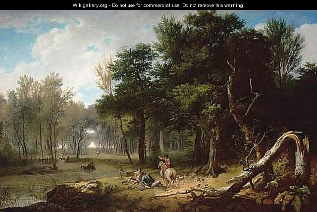 Wooded Landscape With Huntsmen Resting In A Glade Beside A Pond - Jean-Francois Hue