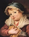 A Young Child Holding A Book - (after) Greuze, Jean Baptiste