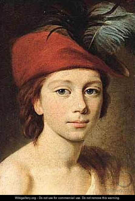 Portrait Of A Young Boy, Head And Shoulders, Wearing A Red Plumed Cap - (after) Elisabeth Vigee-Lebrun