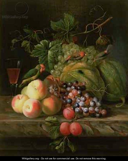 Still life of fruit on a ledge with Parakeets - (after) Boggi, Giovanni