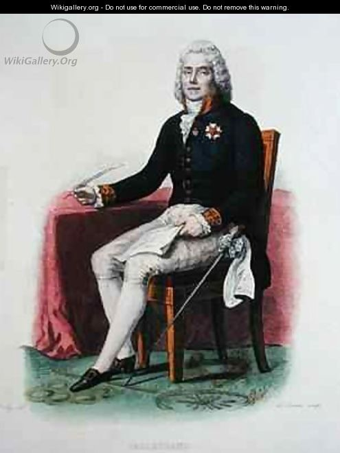 Portrait of Charles Maurice de Talleyrand-Perigord (1754-1838) at his desk - (after) Boilly, Julien Leopold