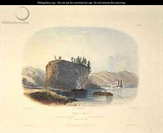 Tower-Rock, View on the Mississippi - (after) Bodmer, Karl