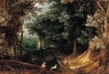 A Wooded Landscape With Sportsmen - (after) Jan The Elder Brueghel