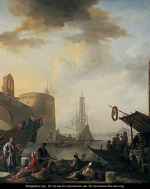 A View Of An Italian Port - Johannes Lingelbach