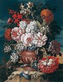 Still Life Of Roses, Narcissi, Carnations, Morning Glory And Orange Blossom, In A Sculpted Urn, Within A Landscape Setting - Caspar Pieter II Verbrugghen
