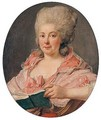 Portrait Of A Lady, Wearing A Lace-Trimmed Pink Dress And Holding A Book - Antoine Vestier