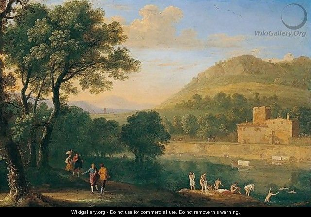An Italianate River Landscape With Figures Bathing - Herman Van Swanevelt