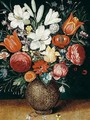 Still Life Of Flowers, Including Tulips, Lilies, An Iris, Marigold, And A Snowdrop In A Stoneware Vase - (after) Osias, The Elder Beert