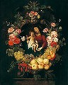 A Still Life Of A Garland Of Fruit And Flowers Around The Virgin And Child - Frans Ykens